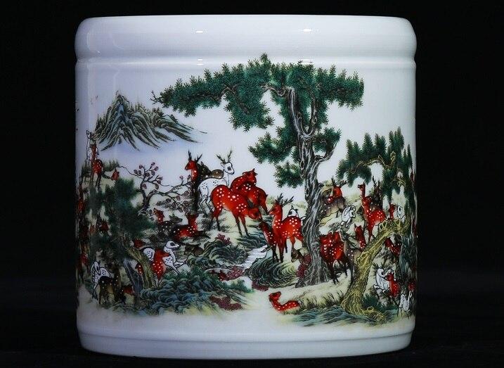 Jingdezhen-vase en céramique porcelaine Baizi | Motif carte Bailu carte moderne, stylo stylo d'étude, décoration de bureau