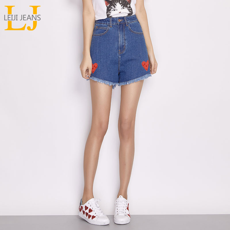LEIJIJEANS New Arrival Summer Plus Size Fashion Red Heart Embroidery Tassel Blue Mid Waist Zipper Casual Loose Denim   Shorts