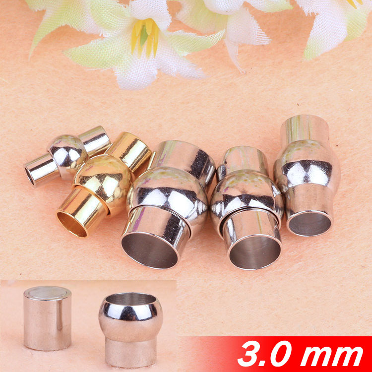 Fashion For 3mm Leather Cords Jewelry Necklace Bracelets Round Gold Sterling Copper Metal End Magnetic Clasps Buckles Components