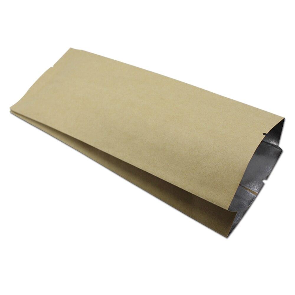 DHL brun Kraft papier aluminium feuille Mylar sac emballage alimentaire côté gousset ouvert Top thermoscellage pour noix haricots thé en gros 6 tailles