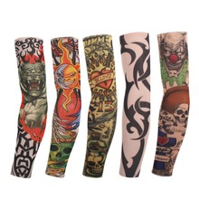 8 Pcs New mixed 100%Nylon Elastic Fake Temporary Tattoo Sleeve Designs Body Arm Stockings Tatoo for Cool Men Women Free shipping