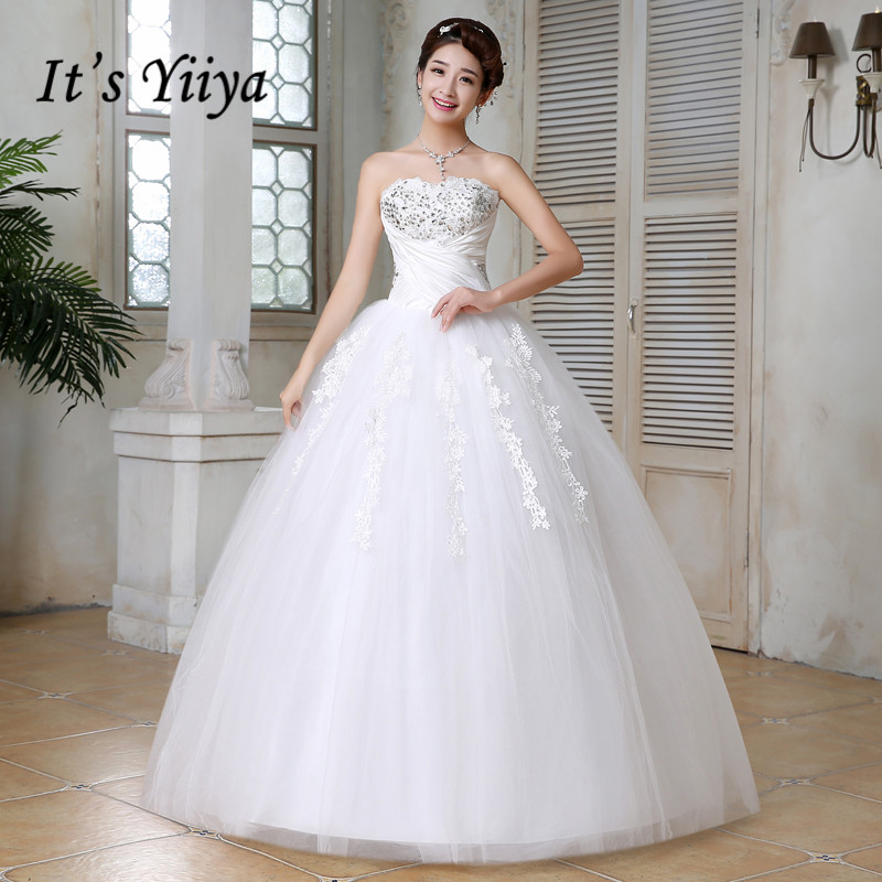It's YiiYa Wedding Dress Strapless Full Crytral Long Wedding Dresses Bridal Sleeveless Lace Up Princess Ball Gown HS162