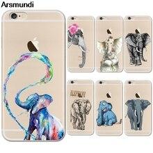 Arsmundi 2018 Новые Симпатичные Слон Телефонные чехлы для iphone 4S 5C 5S 6 6 S 7 8 Plus x Crystal Case ясно Мягкие TPU крышка Чехол