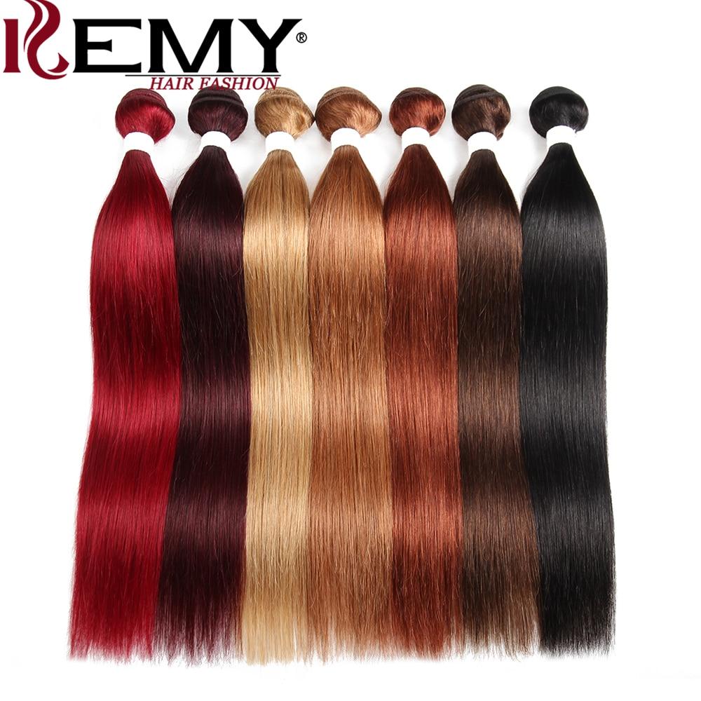 Brazilian Straight Human Hair Weave Bundles 1PC 8-26 Inch Red Human Hair Bundles Non-Remy Hair Extensions KEMY HAIR