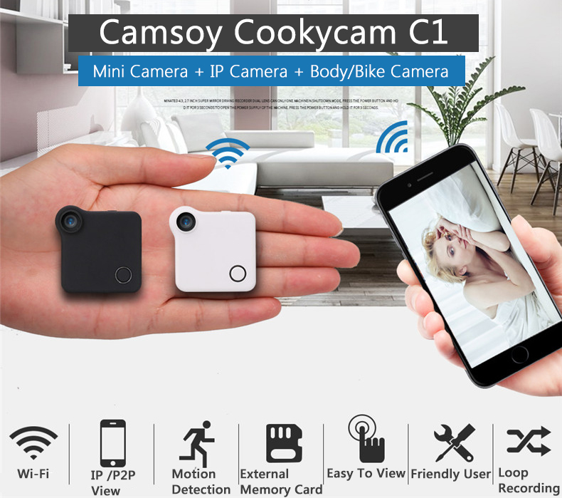 C1 Mini Web Camera WIFI P2P IP DV Video Registratore di Suoni Multi Portable HD 720 P H.264 Micro Action DVR di Rilevazione di movimento Flessibile