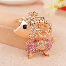 Hot Sale New Arrival Fashion Creative Rhinestone Keyrings Gold Plated Goat  Antelope KeyChains Novelty Items For Women Purse Bag