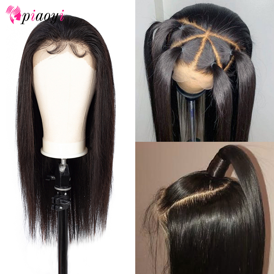 Piaoyi Brazilian 360 Lace Frontal Straight Wigs Pre Plucked With Baby Hair Remy Human Hair Long