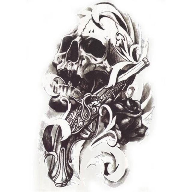 Sexy Black Skull 3D Tattoo Waterproof Temporary Tattoo
