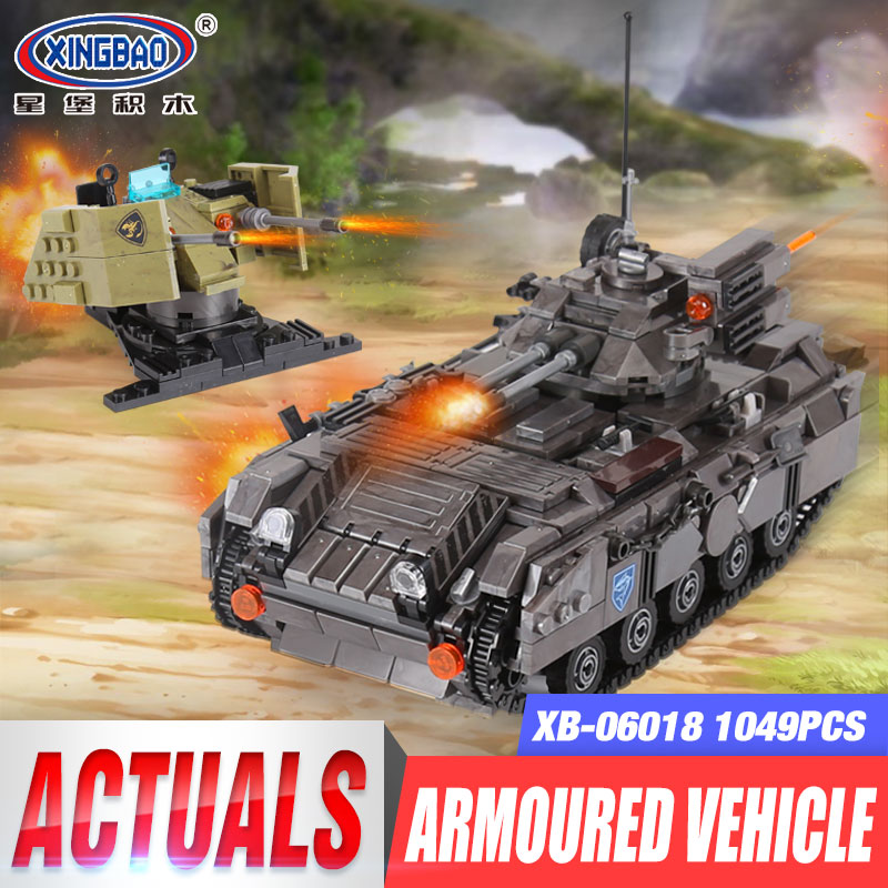 XINGBAO 06018 Genuine Military Series The Armoured Vehicle Set Building Blocks Bricks Educational Toys As Children Gifts 1049PCS sluban b0367 aviation series international airport building blocks transport aircraft vehicle bricks toys