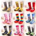 Toddler Indoor Floor Shoes Infant Socks Baby Girls' Boys' Socks With Rubber Soles Panda Cartoon Animal Rainbow LMY003