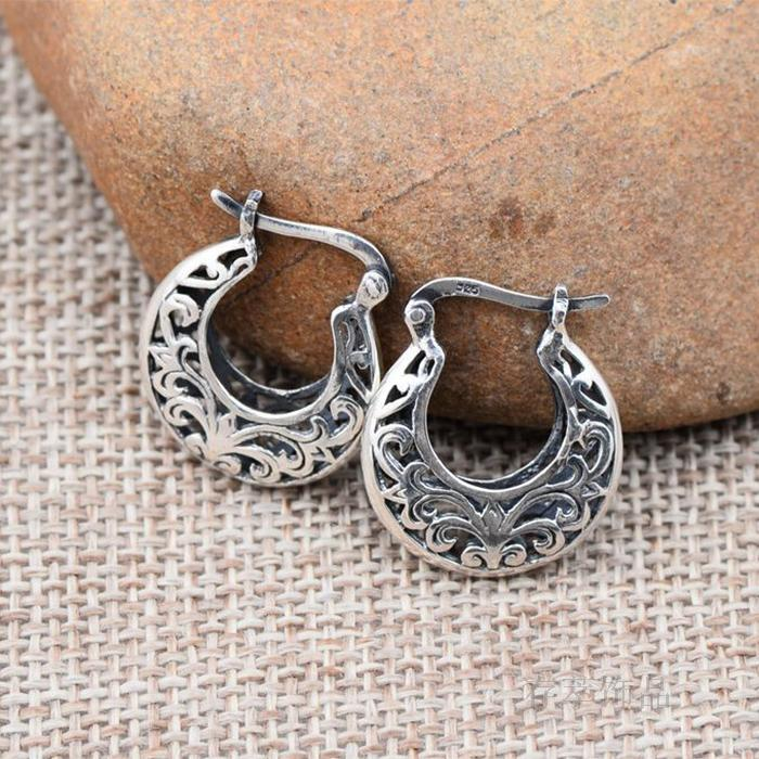 Sterling Silver Thai Silver, Silver Thailand Handmade Earrings Ears Ring Earring Hollow Out Carve Patterns Or Designs On Woodwor alev silver naer on terviseks