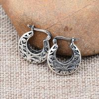 Sterling Silver Thai Silver, Silver Thailand Handmade Earrings Ears Ring Earring Hollow Out Carve Patterns Or Designs On Woodwor