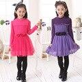 Осень весна 5 - 14 год дети в одежда дети девочка в марля принцесса платья девочки длинная рукавами свободного покроя платье