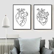 Nordic Minimalist Poster Abstract Canvas Painting Wall Art Black and White Posters Prints Living Room Heart Unframed