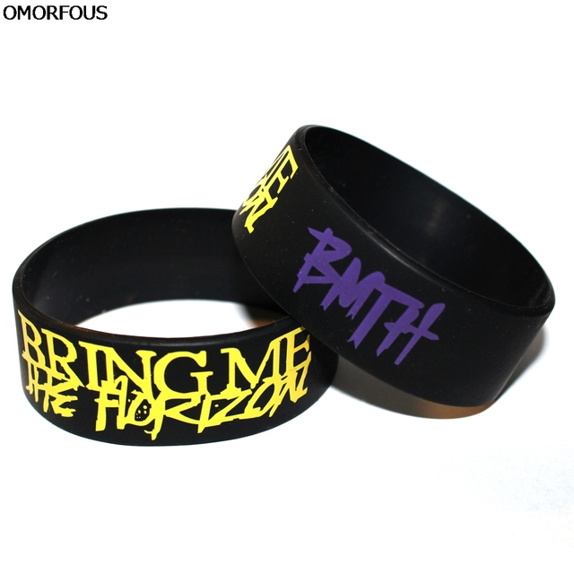 Bmth Bring Me The Horizon Silicone 1 Wide Debossed Wristband Bracelet Dropshipping