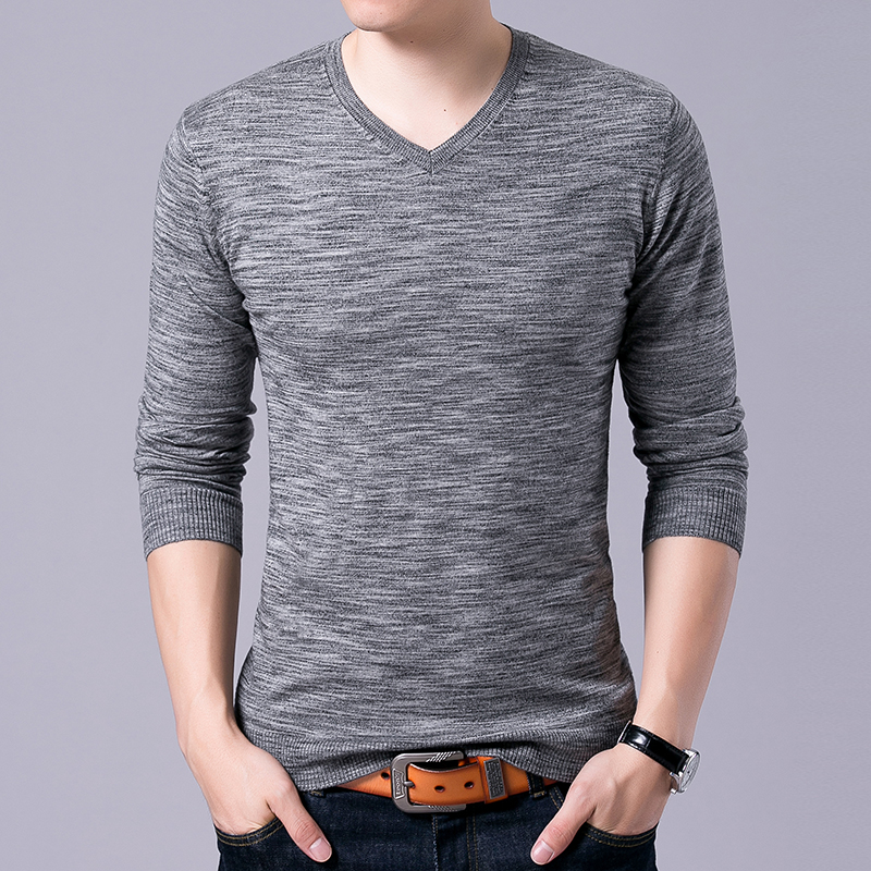 2019 Top Grade New Fashion Brand Sweater Mens Pullovers V Neck Slim Fit Jumpers Knitred Autumn Korean Style Casual Men Clothes