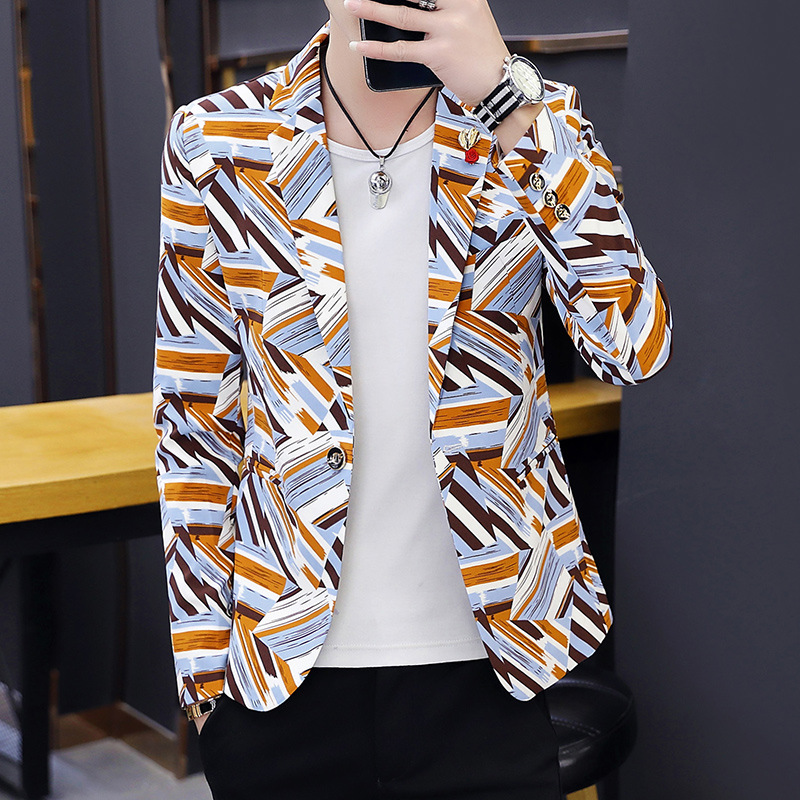 Spring Summer Clothes 2019 Mens Casual Coat Blazer Stage Performance Daily Print Men Slim Fit Dress  Velvet Thin Blazers Suits