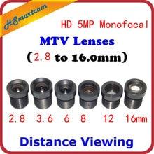 HD 1080P 5.0MP monofokal CCTV monofokal kurulu dağı M12 / MTV Lens seti mesafe (6 Set)