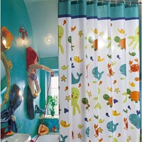 1 PC 180*180cm Cartoon Sea World Shower Curtains Polyester Fibre Thicker Bath Curtain Waterproof Bathroom Curtain YL22