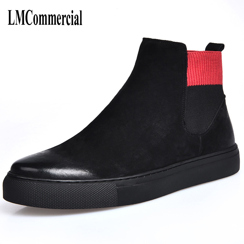 цены The new winter men boots Martin male tide high shoes leather and velvet warm shoes vintage British short casual boots men