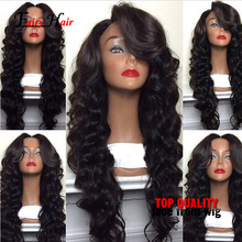 Free Part Natural Black #1b Body Wave Synthetic Lace Front Wig Heat Resistant Glueless fiber wig Synthetic Wig for Black Women