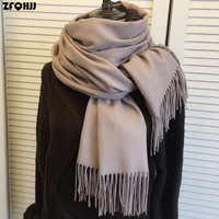 ZFQHJJ 200cmx70cm Winter Oversize Scarves Simple Fashion Warm Blanket Unisex Solid Wraps Cashmere Scarf Shawl Pashmina