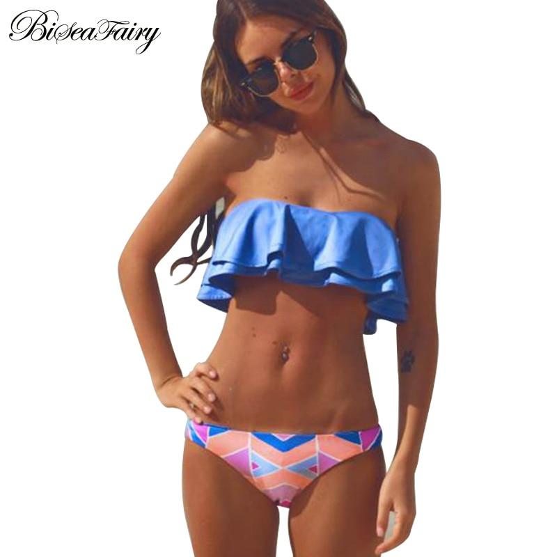 Bikinis 2016 Sexy Bandeau Swimwear Women Swimsuit Push Up Brazilian Bikini set Ladies Summer Beach Bathing