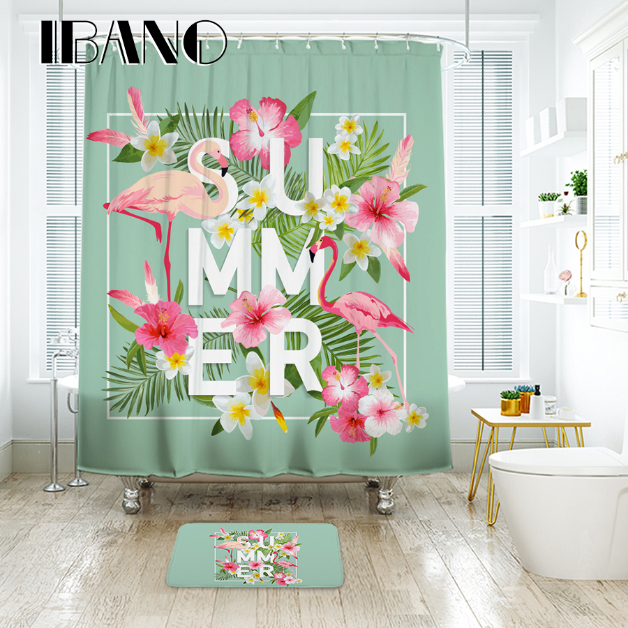 IBANO Floral Flamingo Pattern Shower Curtain Waterproof Polyester Fabric Curtain for The Bathroom Accessories Home Decor