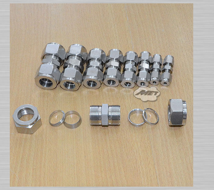 High Quality Brand New 8MM STRAIGHT DOUBLE FERRULE TUBE PIPE FITTING CONNECTOR STAINLESS STEEL 304 2pcs 1 2bsp x 3 8 9 53mm tube double ferrule tube pipe fittings threaded male connector stainless steel ss 304 good quality