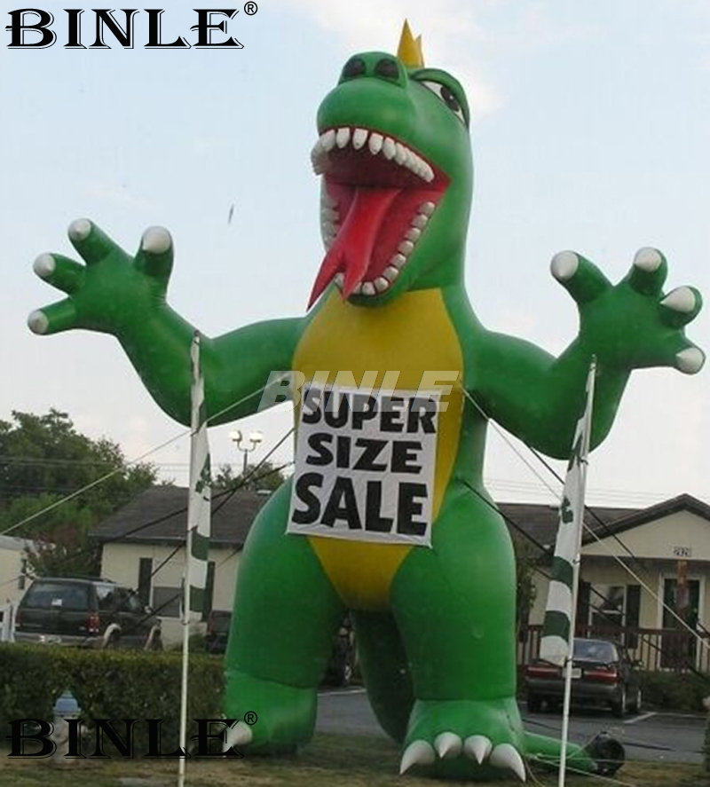 6m 20ftH popular cartoon Green red standing inflatable dinosaur animal balloon for promotional6m 20ftH popular cartoon Green red standing inflatable dinosaur animal balloon for promotional