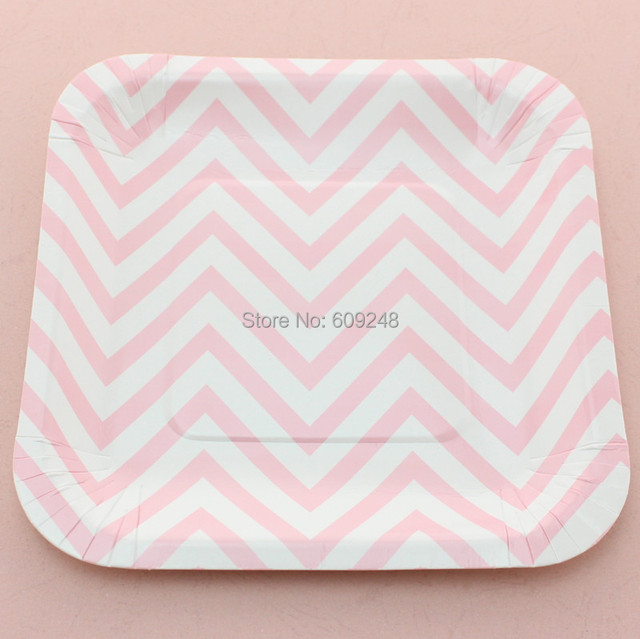 24pcs 7  Decorative Birthday Wedding Holiday Pink Chevron Square Elegant Paper Plates Party Dessert Paper  sc 1 st  AliExpress.com : elegant paper plates napkins - pezcame.com
