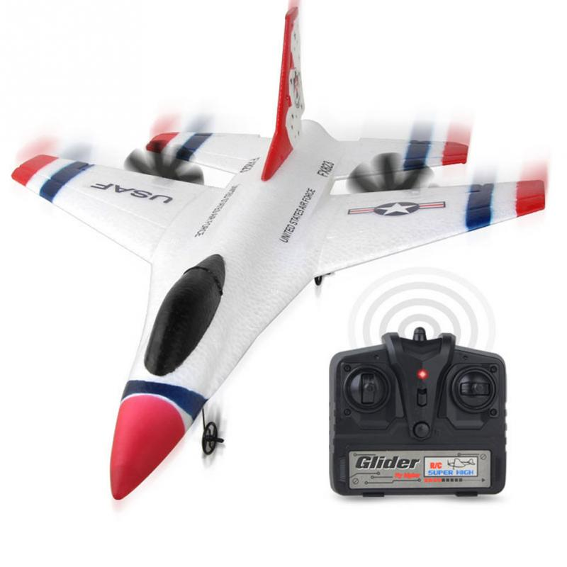 FX-823 2.4G 2CH F16 Thunderbirds EPP Remote Control RC Glider Airplane White 270x310x80mm for Boys Birthday Gift