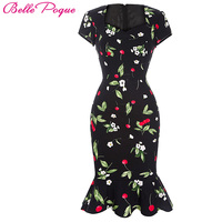 Mermaid Summer Dress Women Vestidos Cherry Print Sexy Short Party Club Dresses For Women Plus Size