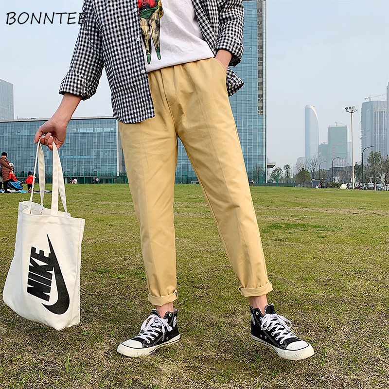 Pants Men Straight Loose Korean Style New Chic Mens Solid Comfortable High Quality Males Ulzzang Trousers Daily All Match Pant
