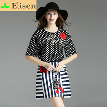 New Luxury Set 2016 Summer Fashion Women Runway Brand Short Sleeve Dot Print Flower Embroidery Top + Striped Sequied Set