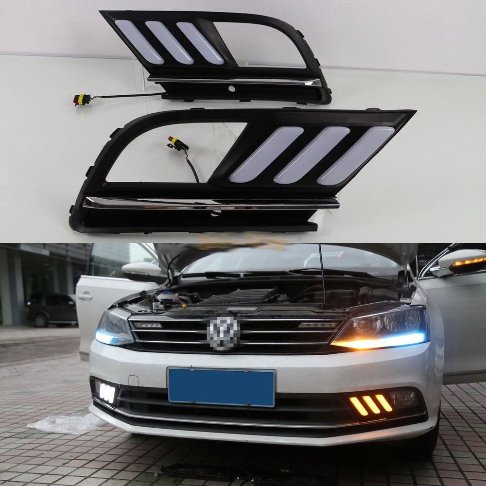 LED Daytime Running Lights DRL with Yellow Turn Signal for VW Jetta MK7 Sagitar 2016 2017 eosuns led daytime running light drl for vw jetta sagitar golf 5 variant 2006 2010 wireless switch control