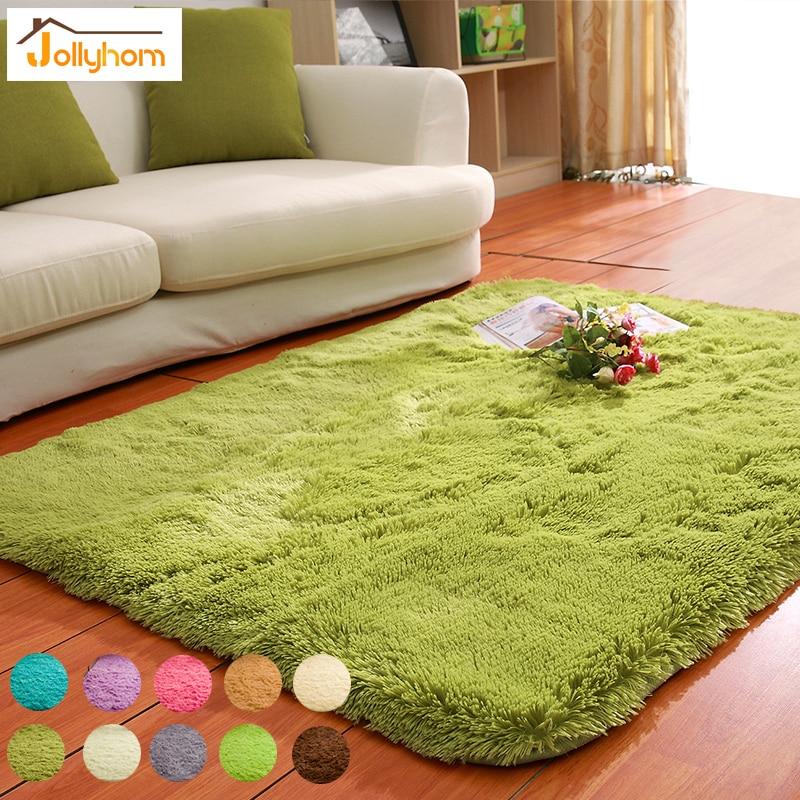Solid Floor Carpet Mat Long Hair Modern Shaggy Rugs Slip