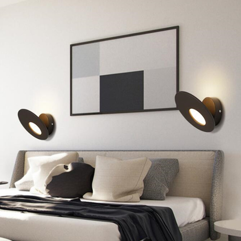 Nordic Round Bedroom Bedside Led Wall Light Art Rotatable Bathroom Study Aisle Light Led Wall Sconce Free Shipping