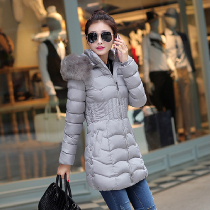 2017 New Arrival winter jacket women fashion thick keep warm cotton coat long sleeve Slim fur collar hooded woman   parka   MF003