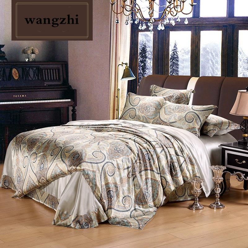 Silk Home Textile Autumn Dark-color Flower Series Bed Linens 4pcs Bedding Sets Bed Set Duvet Cover Bed Sheet Mans Cover Set