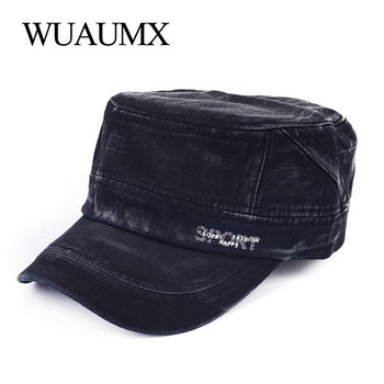Wuaumx Casual Summer Cap For Men Women's Baseball Caps Cotton Washed Solid Color Sun Visor Flat Top Army Hat Trucker Cap chapeau wuaumx casual military hats spring summer flat top baseball caps men women outdoor army cap mesh breathable casquette militaire