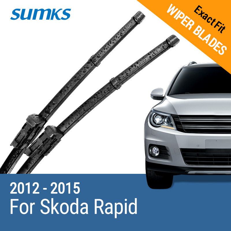 SUMKS Wiper Blades for Skoda Rapid 24&16 Fit slim push button Arms 2012 2013 2014 2015