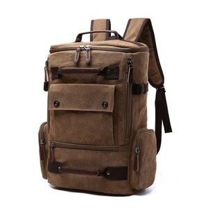 Image 1 - Sac à dos vintage en toile pour homme, grande contenance et haute qualité, idéal pour voyager, servir de cartable ou contenir un ordinateur portable