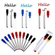1pc Magnetic Whiteboard Marker Pens White Board Dry wipe Fine Nib Pen with Eraser Rubber Markers Brush Fridge Magnets