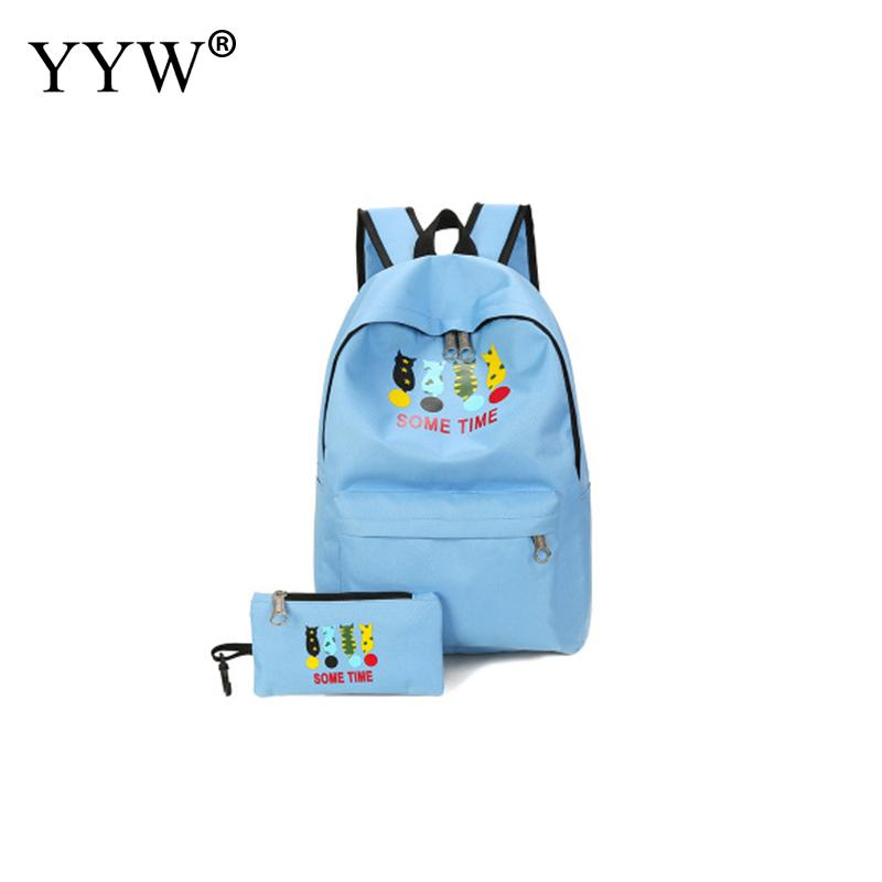 2pcs /Set Women Cartoon Printed Backpack Casual School Bags For Teenage Girls Oxford Women Travel Backbags Mochila Feminina