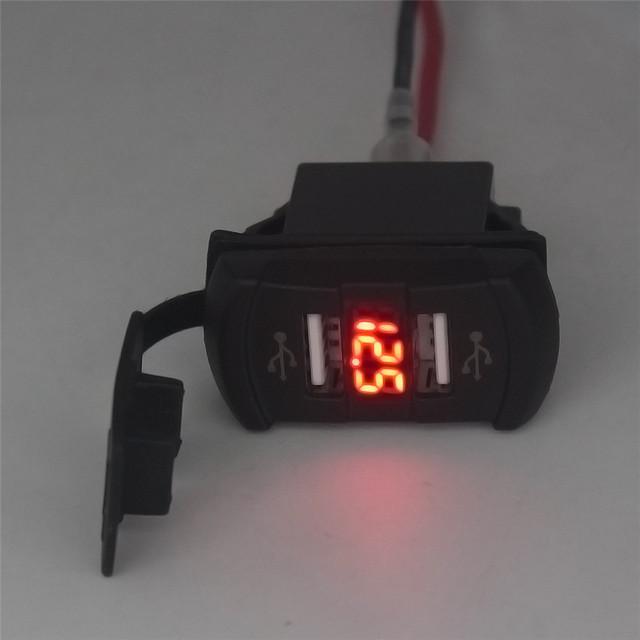 Confiável Moda Novo 12 V Dupla Porta USB Carregador de Tomada Rocker Switch Painel de Tensão Voltímetro Car Boat My16 dropshipping