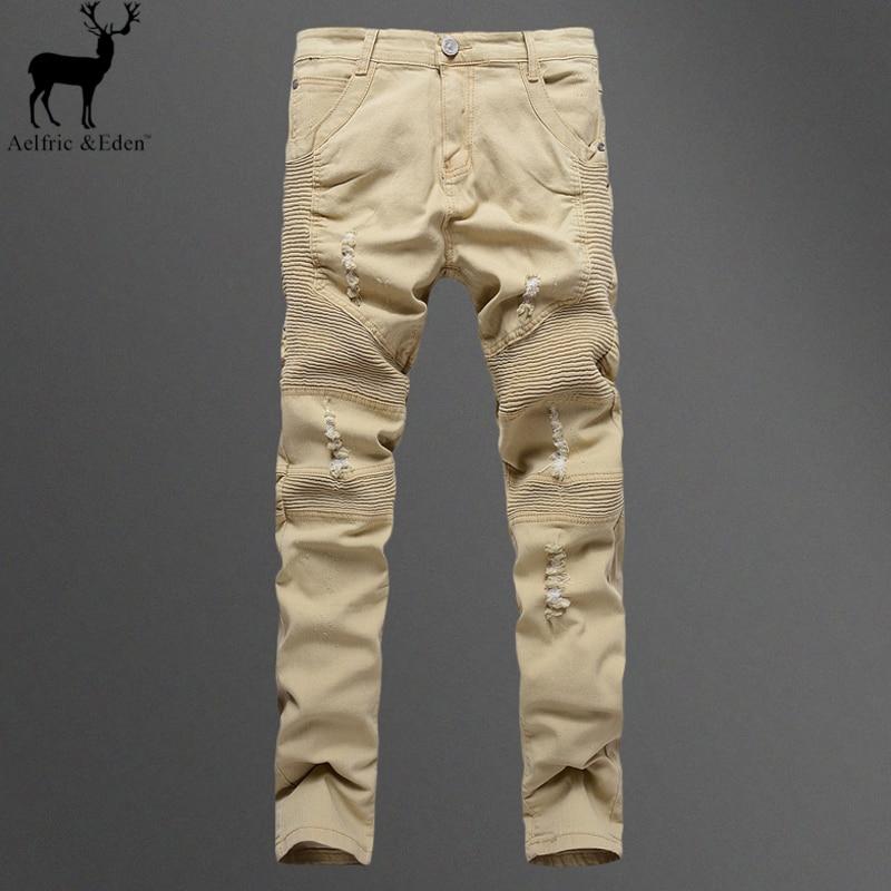 ФОТО Aelfric Eden Khaki BIKER JEANS Micro Elasticity Folds Denim Streetwear Pants Retro Fashion Compression Pants Motorcycle Men Pant
