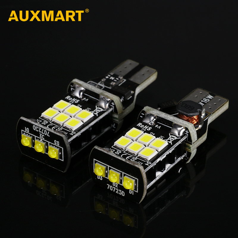 Auxmart 2pcs T15 Led InteriCar Bulbs 15SMD 6000K Universal Auto Lamps 912 920 921 W16W Door Light Reading Light Fog Lamps DRL auxmart triple row led chips 12 led