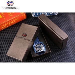 Image 5 - Forsining bleu montres pour hommes automatique mécanique mode robe carré squelette montre bracelet mince maille acier bande analogique horloge