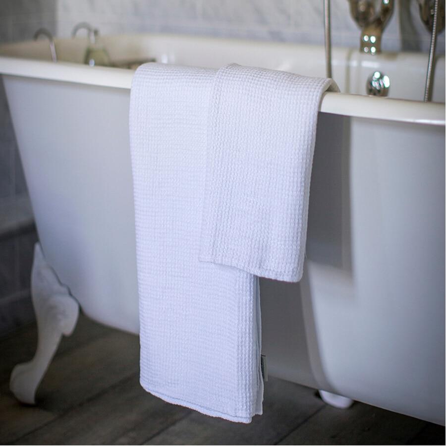 puro lino bianco cialda telo da bagno per adulti panno per il viso asciugamani da bagno